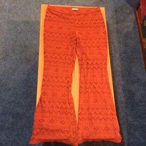 american eagle burnt orange detailed flare pants!!